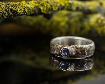 Contemporary ring - Engagement ring - Silver ring - Iolite ring - Organic shape ring