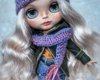 WINTER SALE!!Blythe,Knitted set hat and scarf for Blythe doll
