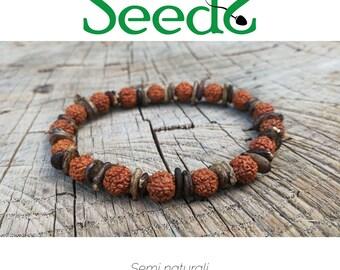 Semi/Rudraksha & Watermelon Bracelet