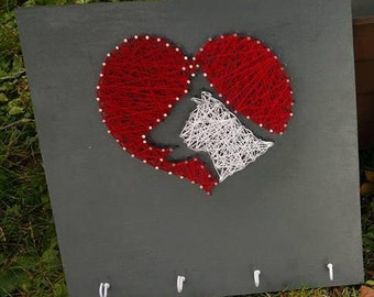 Dog And Cat Love String Art Sign With Key Hooks