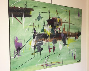 Large Abstract Acrylic Painting on Canvas - ORIGINAL
