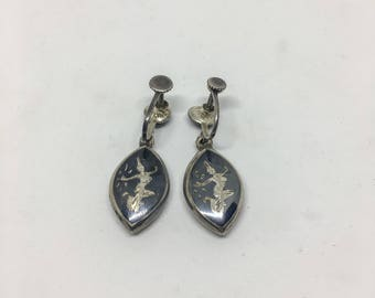 Siamese Silver and Niello Earrings - with lobe screw back
