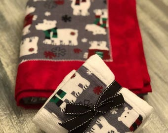 winter animal themed flannel baby blanket and burp cloth set