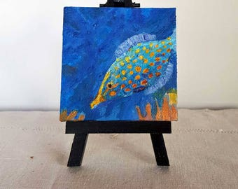 Fine Art Orange Spotted Filefish (Harlequin Filefish) Miniature Painting on Canvas, part of an Endangered Species series