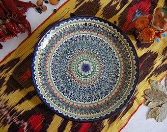 Uzbek decorative ceramic handmade painted plate, diameter 28 sm (11.02 in) 0013