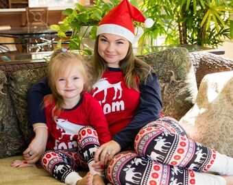 Family Matching Christmas Pajamas, Reindeer Pajamas, Customized Pajamas, Personalized Christmas Pajamas, Deer Print Christmas Pajamas