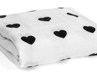 MUSLIN Swaddle Blanket Hearts