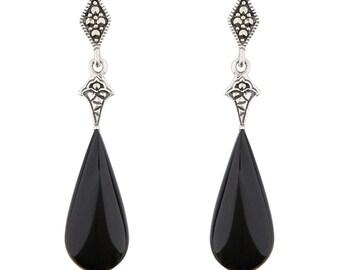 Cordelia Drop Earrings | Black Onyx, Marcasite and Sterling Silver