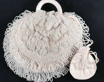 Amazing Antique Clear Glass Beaded Blush Velvet and Silk Round Purse With Mirror And Hidden Pouch