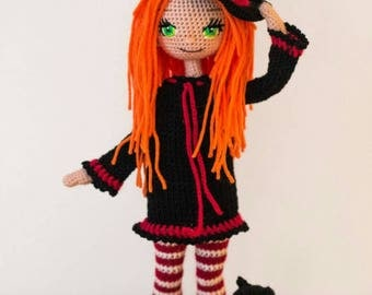 Cute witch doll - red hair witch - cute doll