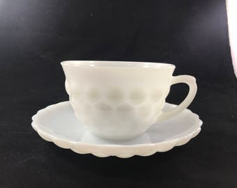 Vintage Anchor Hocking Milk Glass Bubble Cup and Saucer