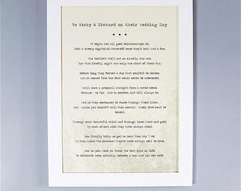 Bespoke, Personalised Wedding Poem/Reading - Printed and Framed A3 40 Lines
