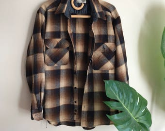 Vintage Wool Blend Grunge Brown Men's Flannel Shirt Size Large / Sears Brown Plaid Wool