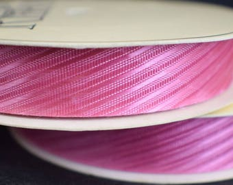 Fabric Ribbon Hot Pink Belair Satin Grosgrain 25 Yard Roll 5/8 Wide Pattern 8050 Vintage WFR Brand