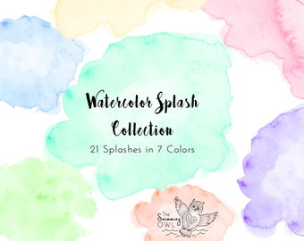 Watercolor Splash - Clipart - Watercolor Washes - Pastel Watercolors - Watercolor Logo - Invitation Clipart - Scrapbooking - Clip Art