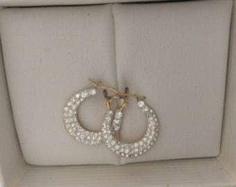 10 k Gold Cubic Zirconia Hoop Earrings