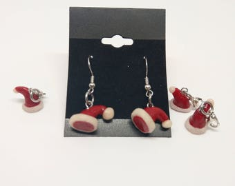 Christmas Polymer Clay Santa Claus cap earrings and charms handmade