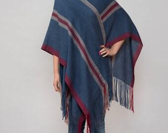 PONCHO VIRU / Hand knit shawls ruana wrap  / 100% finest Baby Alpaca wool