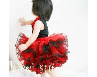 CLEARANCE BOUTIQUE Red and Black 8 Layered Birthday Tutu Size1-3y