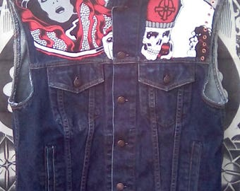 UpCycled, recycled jean jacket.