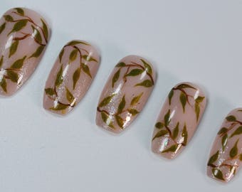 10 Elegant Leaves Nails, Press On Nails, Glue on Nails, Full Coverage Nails