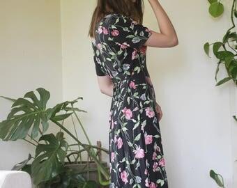 Vintage 80s Cotton Floral Dress
