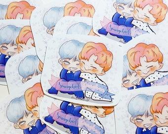 K Pop SEVENTEEN Seungcheol X Jeonghan Chibi Anime Fanart Glossy Waterproof Sticker Bullet Journal Decorative