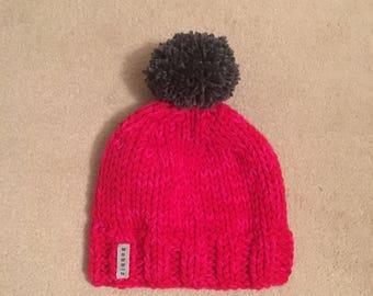 Women's bobble hat, red hat, grey bobble, chunky, hand knitted hat, beanie hat, pom pom hat, handmade