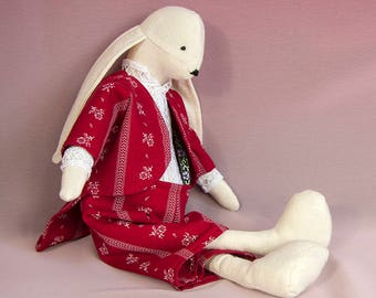 Girlfriend fabric etsy white rabbit fabric collectible doll in red elegant suit boy rabbit doll easter decoration negle Images
