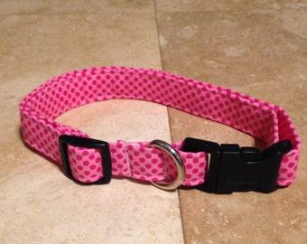 Pink Polka Dot Dog Collar - Adjustable