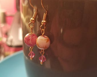 Pink ceramic drop earrings with Swarovski crystals