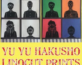 Yu Yu Hakusho Linocut Print | Yusuke Kuwabara Kurama Hiei