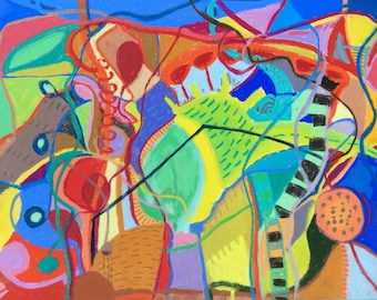 Original, colourful, abstract, intuitive, drawing/painting