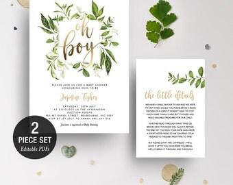 INSTANT DOWNLOAD Greenery Leaves Oh Boy Shower Invitation Printable Template - Gold Foil - BONUS Detail Card