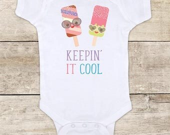 Keepin' it Cool ice cream funny baby bodysuit baby shower gift - Made in USA - toddler kids youth shirt