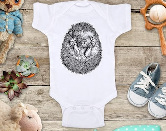 Hedgehog Face Body Up cute graphic Illustration Zoo animal Shirt - Baby bodysuit Toddler youth Shirt cute birthday baby shower gift