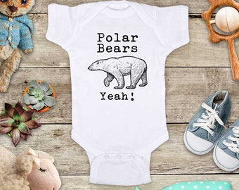 Polar Bears Yeah! cute zoo animal funny Baby bodysuit or Toddler Shirt or Youth Shirt - cute birthday baby shower gift
