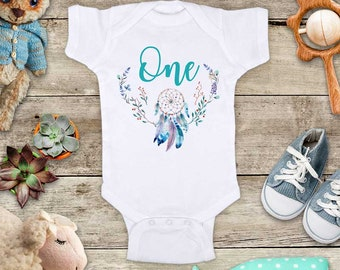 One Dreamcatcher boho - Camping First birthday Baby bodysuit or Baby T-Shirt - cute birthday baby gift - tent trees camp fire shirt