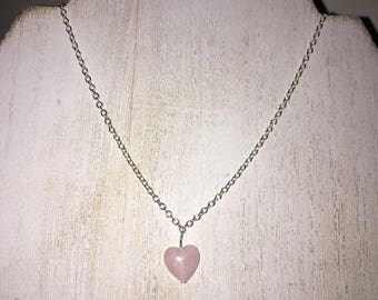 Simple Pink Heart Bead Necklace