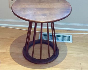 Mid Century solid Walnut round end accent Table Dowels vintage plant holder Unique