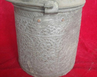 Classic Vintage Hand Made Ottoman Style Antique Brass Bucket #1216