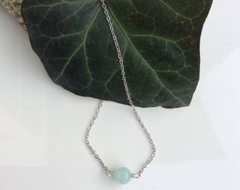 Aqua Quartzite Necklace   Dainty Necklace   Minimalist Gemstone Necklace