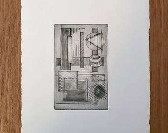 Abstract geometric dry-point etching (limited edition)