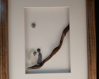 Newlyweds - Pebble and beach glass framed art