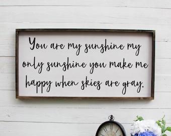 You Are My Sunshine My Only Sunshine You Make Me Happy Nursery Wall Art Nursery Sign Wood Over the Crib Sign Wooden Nursery Sign Rustic Sign