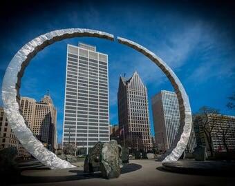 UAW sculpture in Detroit, MI