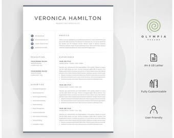Professional Resume Template | Modern Resume Template For Word | Instant  Download | 1 And 2  Resume Template For Mac