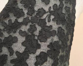 1940s Black Bias Cut Lace Nightgown sz. S
