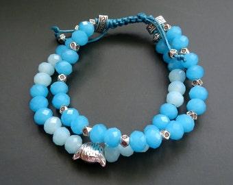 Beautiful Bracelet Exclusive Design, Natural Semiprecious Stones and Glass, Handmade ~ 25 g.
