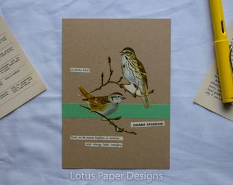 Handmade Blank Greeting Card (Flat A6) - Swamp Sparrow - Golden Guide to BIRDS